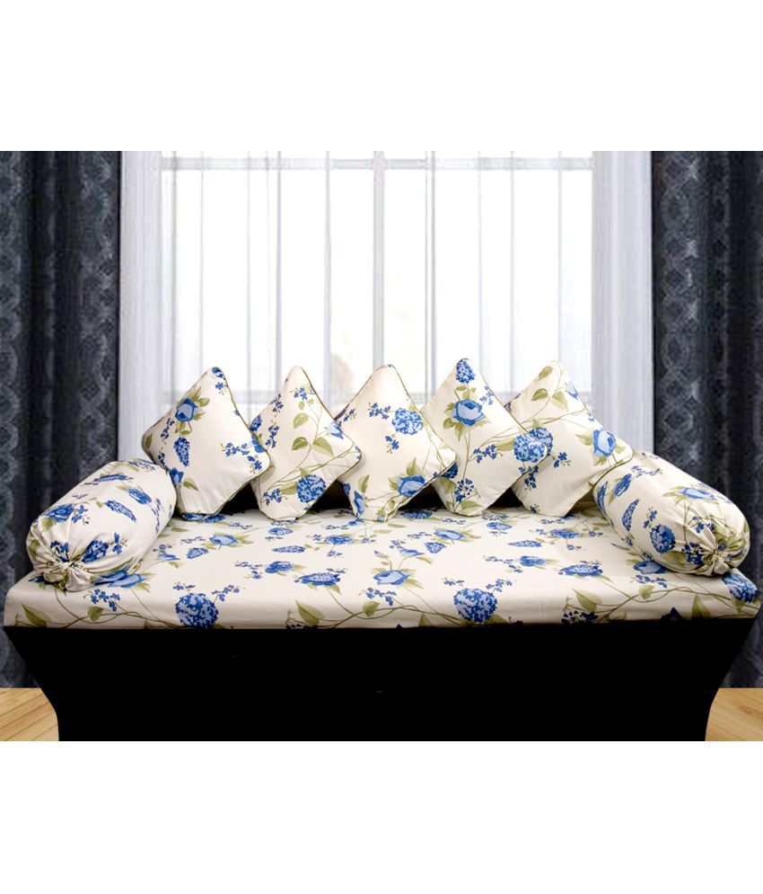 Vissage Cotton Multi Floral Diwan Set 8 Pcs