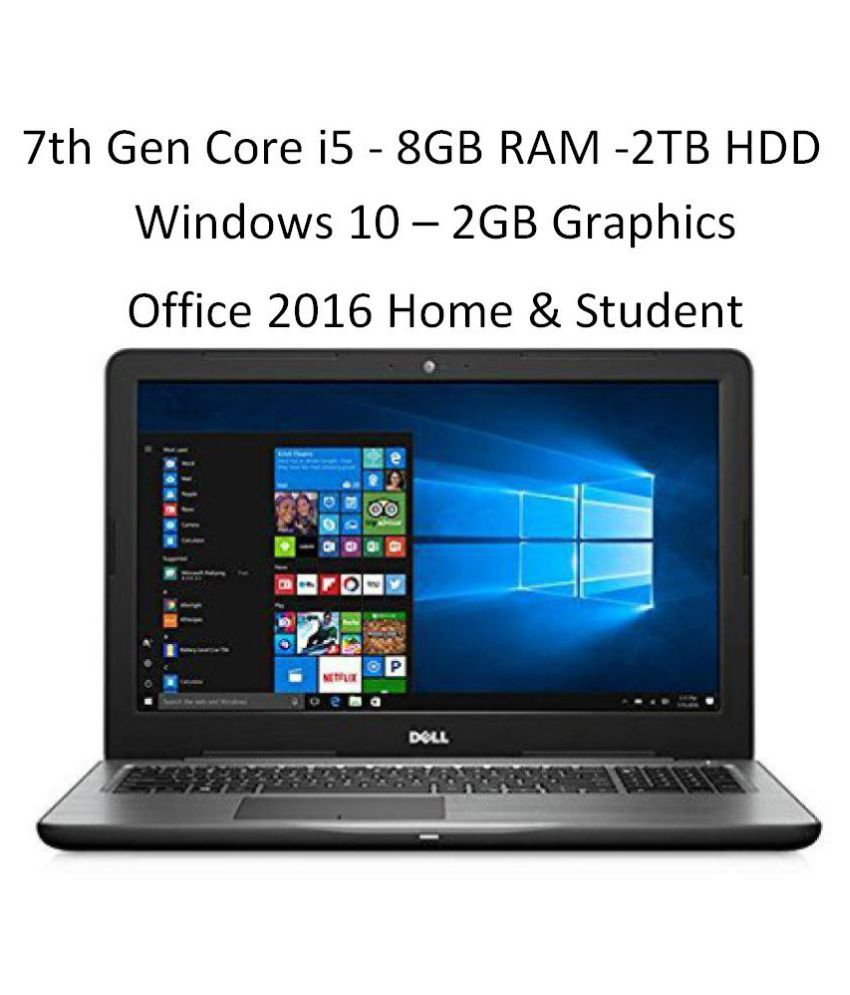Dell 15 5567 Notebook Core i5 (5th Generation) 8 GB 39.62cm(15.6) Windows 10 Home with MS Office Home & Student 2 GB Black