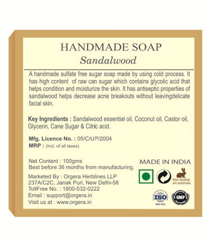 Org'era Handmade Glycerin Sugar Soap Sandalwood Soap  200 gm: Buy