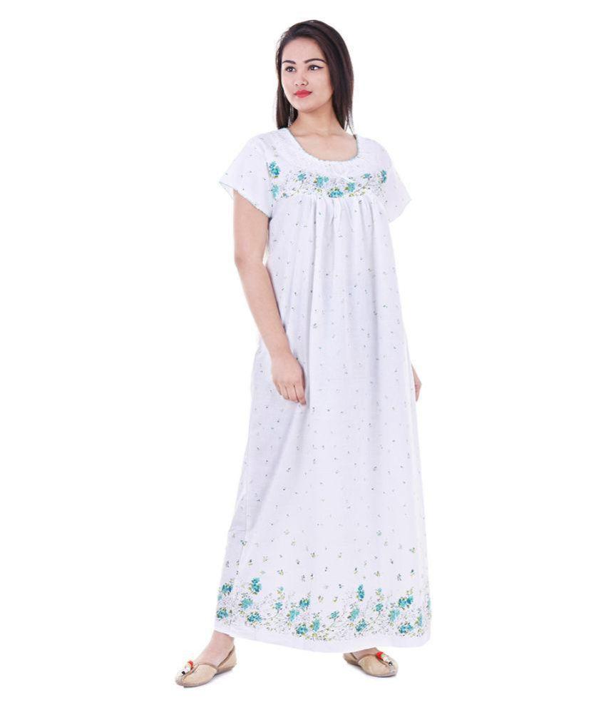 Raj Cotton Nighty & Night Gowns - White