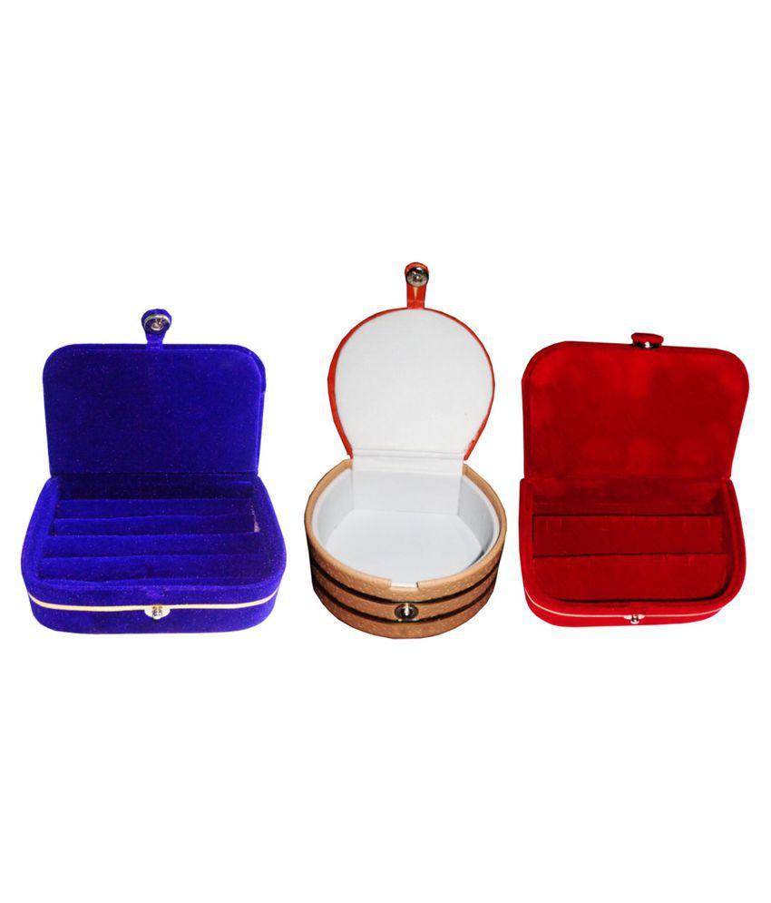 Shivansh Traders Combo 1 pc blue ring box 1 pc red ear ring box  and 1 pc bangle box