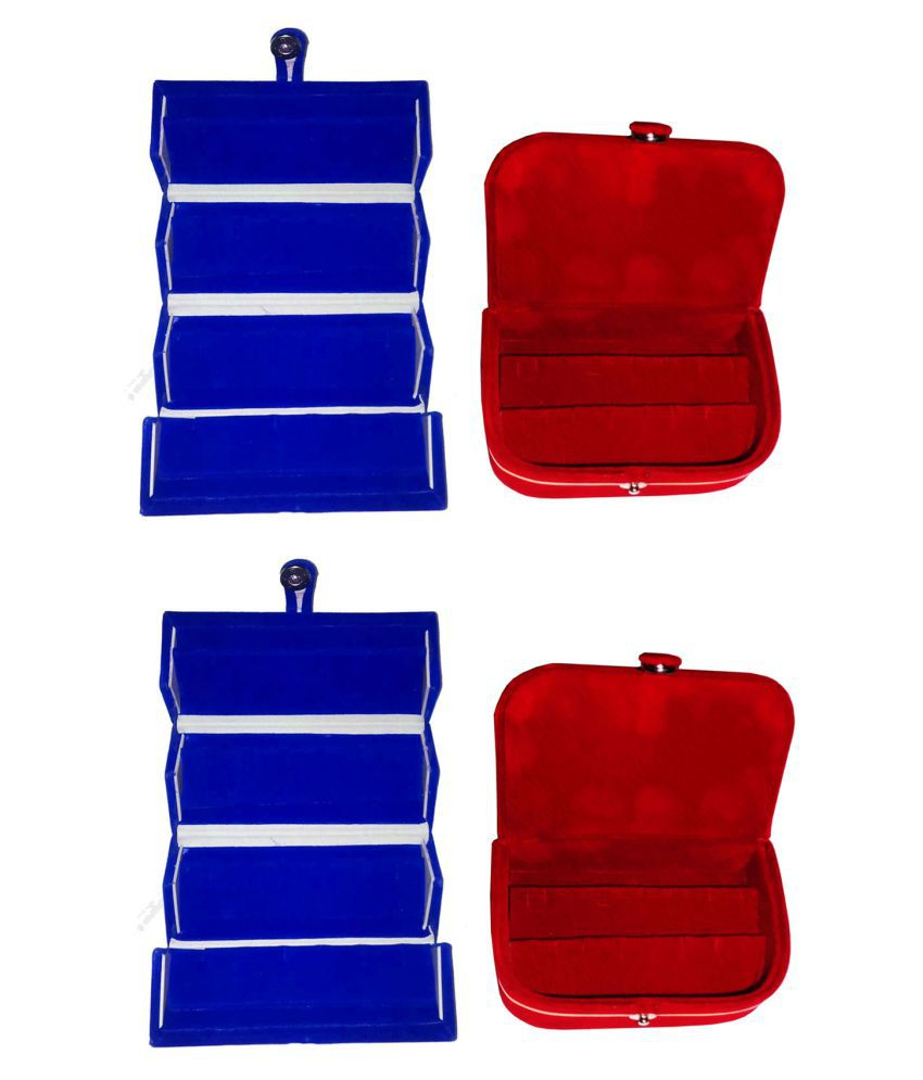 Shivansh Traders Combo 2 pc blue earring folder and 2 pc red ear ring box vanity case