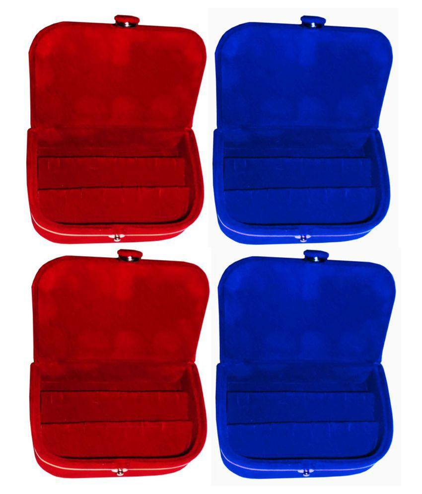Shivansh Traders Combo 2 pc red earring box and 2 pc blue ear ring folder vanity case