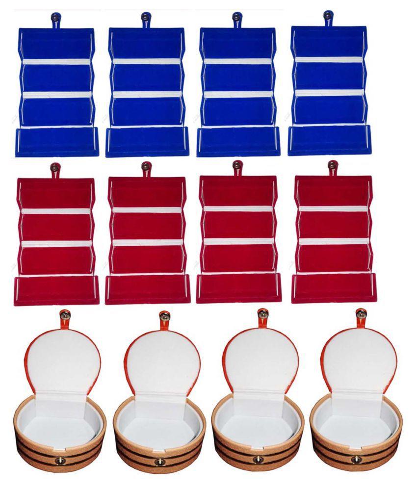Shivansh Traders Combo 4 pc blue earring folder 4 red ear ring box 4 pc bangle box