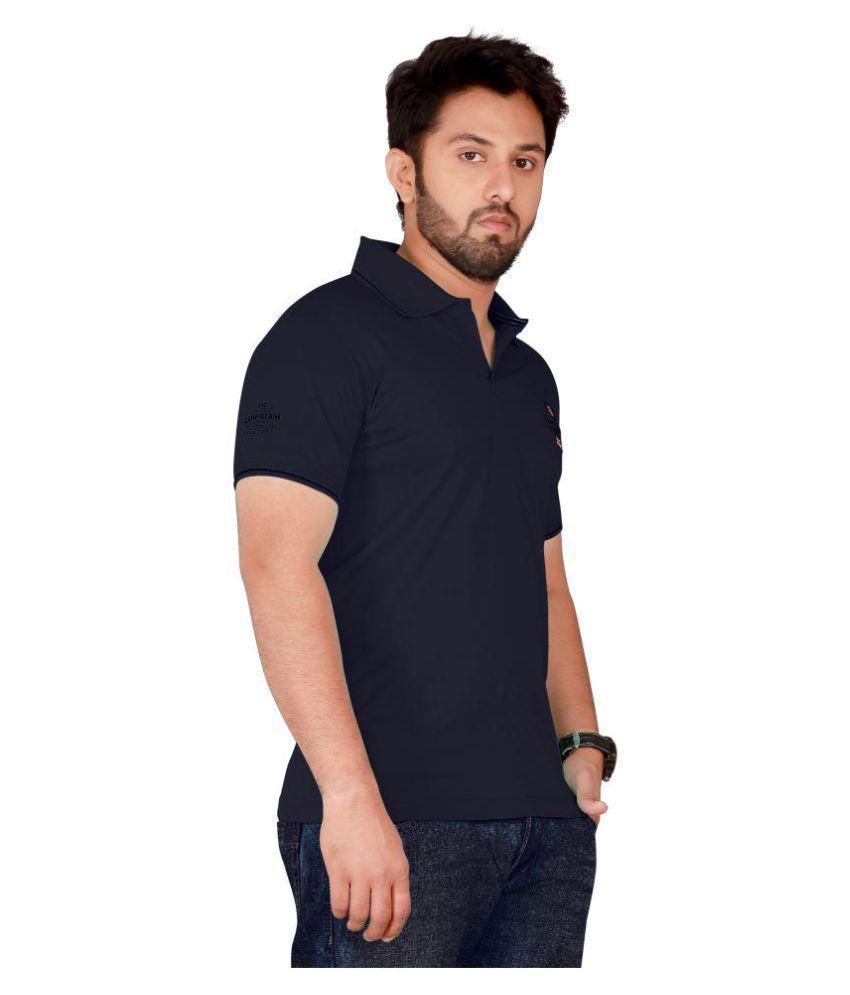 FINETHREAD Navy Cotton Blend Polo T-Shirt