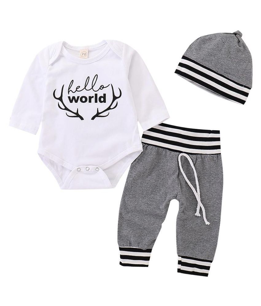 Infant Baby Boys Girls Long Sleeve Letters Romper Stripe Pants Hat Outfit Set