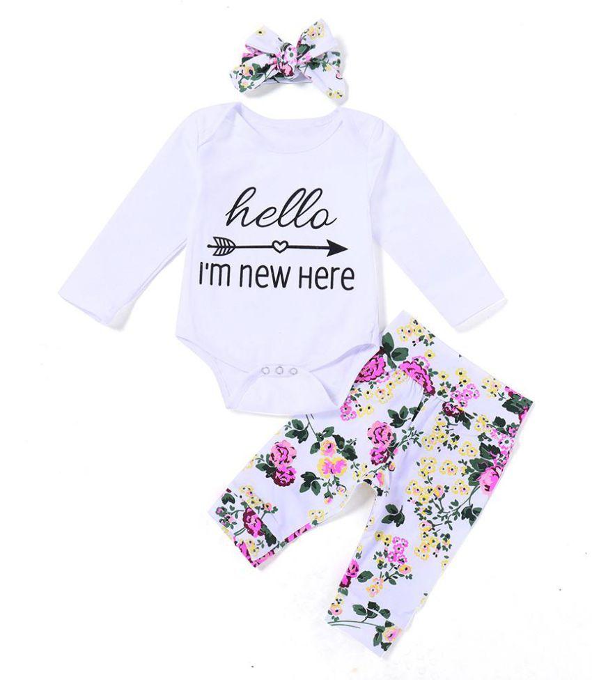 Letters Flower Infant Baby Girls Long Sleeve Romper Pants Headband Clothes Set