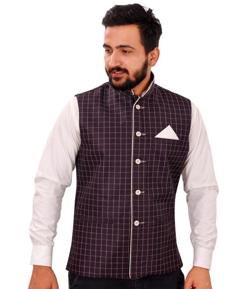 SG RAJASAHAB Purple Polyester Nehru Jacket