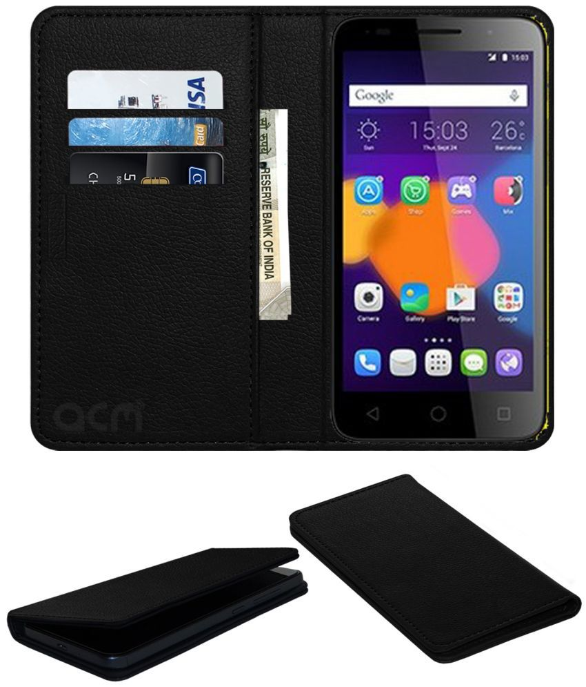 Alcatel Pixi 3 (5) Flip Cover by ACM - Black Wallet Case,Can store 3 Card/Cash