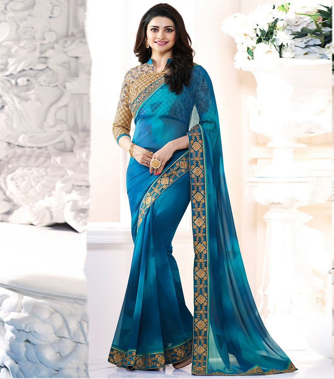 LAXMIPATI FASHION BLUE Georgette Saree