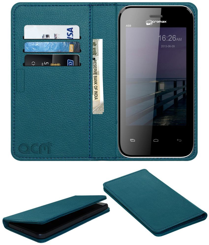 Micromax Bolt A59 Flip Cover by ACM - Blue Wallet Case,Can store 3 Card/Cash