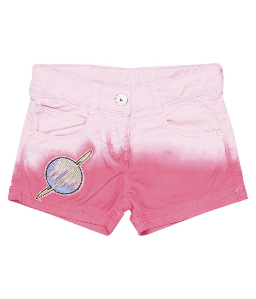 Tales & Stories Girls Pink Slim Fit Embroidered Short [T236027-11-12-PK]