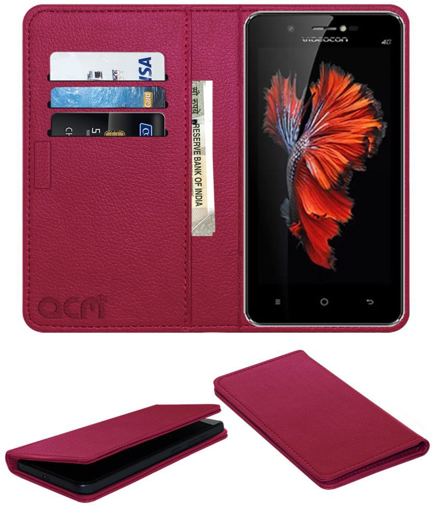 Videocon Graphite V45ED Flip Cover by ACM - Pink Wallet Case,Can store 3 Card/Cash