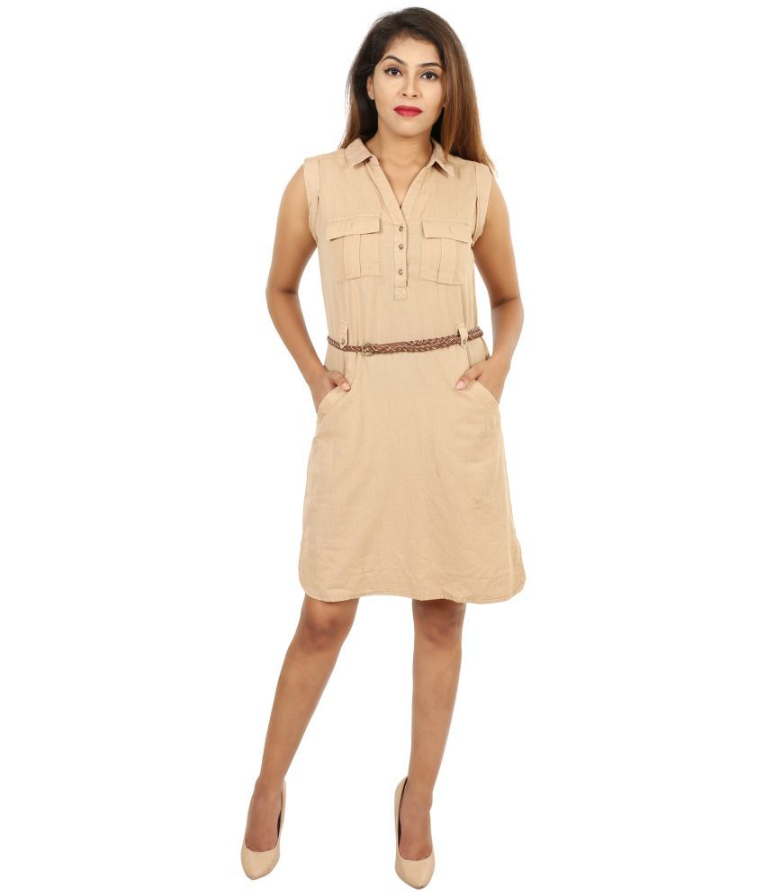 643944c70da GOODWILL Cotton Beige Pencil Dress - Buy GOODWILL Cotton Beige Pencil Dress  Online at Best Prices in India on Snapdeal