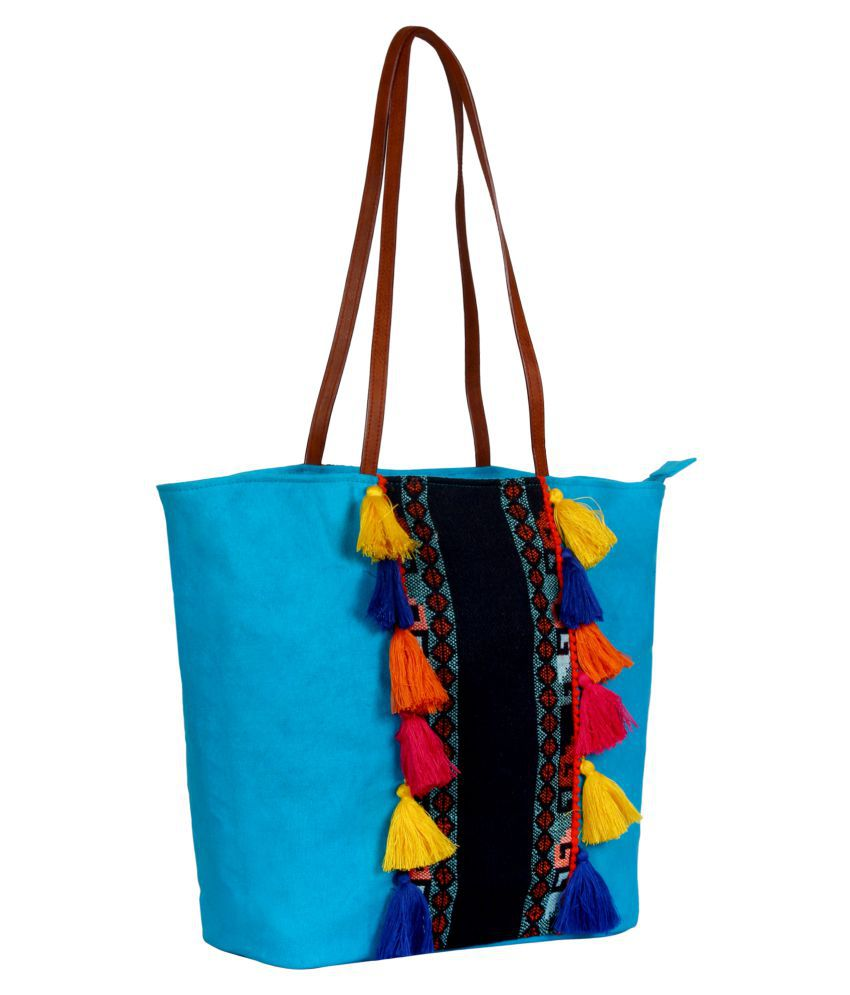 d0444f3a925c1b Anekaant Blue Canvas Tote Bag - Buy Anekaant Blue Canvas Tote Bag Online at  Best Prices in India on Snapdeal