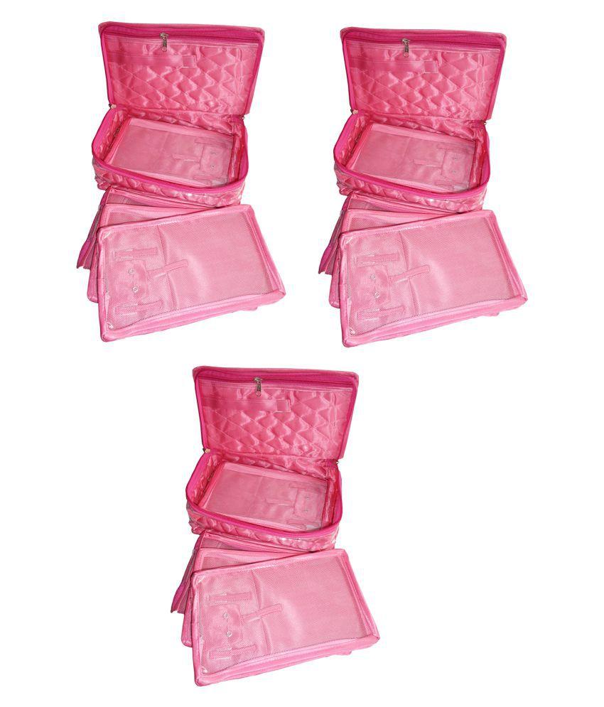 shivansh traders Pink Vanity Kit and pouches - 3 Pcs