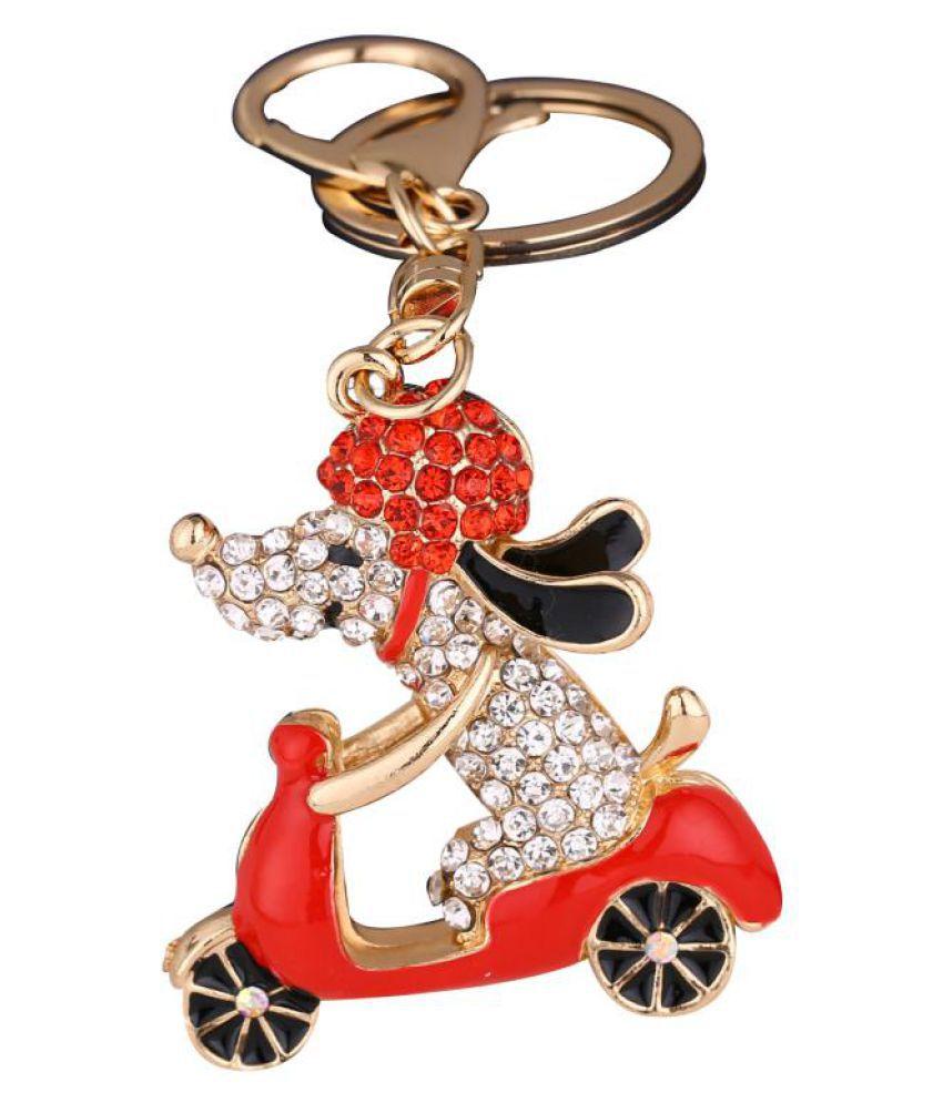 Lovely Cartoon Dog Motorcycle Biker Rhinestone Bag Pendant Car Keyring Keychain