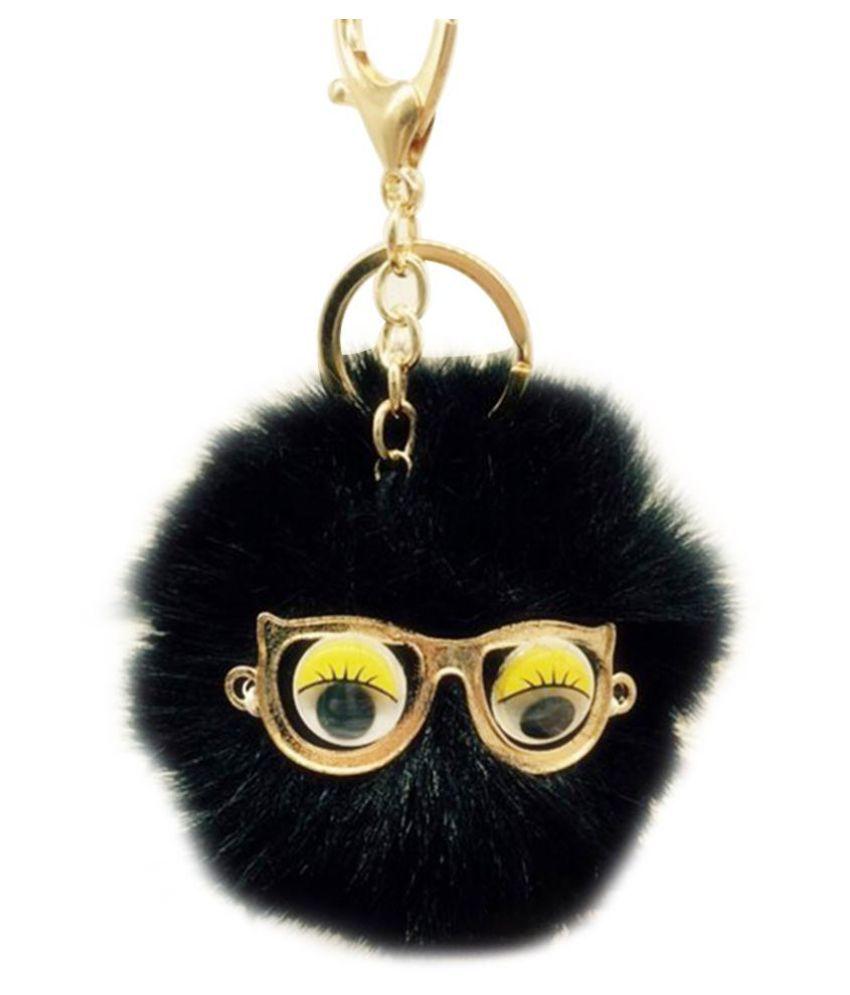Pretty Monster Fox Fur Pom Doll Ball Glasses Keychain Key Ring Bag Car Decor