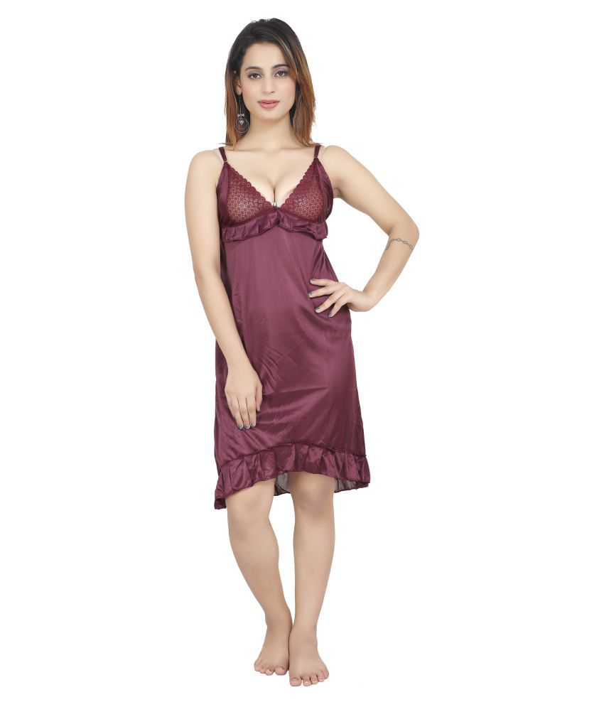 BAILEY SELLS Satin Baby Doll Dresses With Panty - Purple