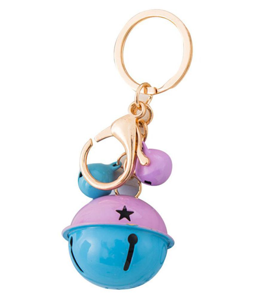 Dual Color Bell Keychain Purse Backpack Pendant Car Keys Holder Key Ring Gift