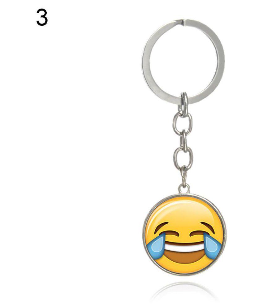 Charm Lovely Emoji Emoticon Funny Keychain Keyring Glass Cabochon Jewelry