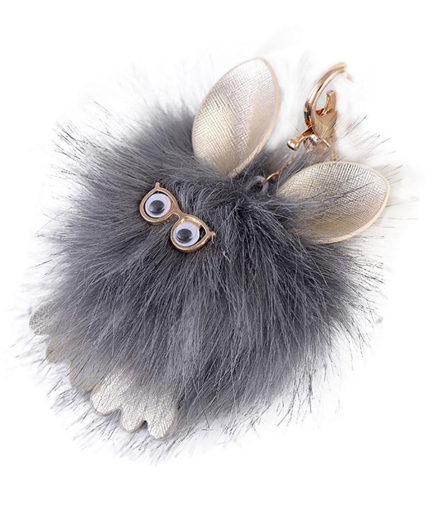 Cute Fluffy Ball Owl Key Chain Women Bag Pendant Hanging Decoration Keyring