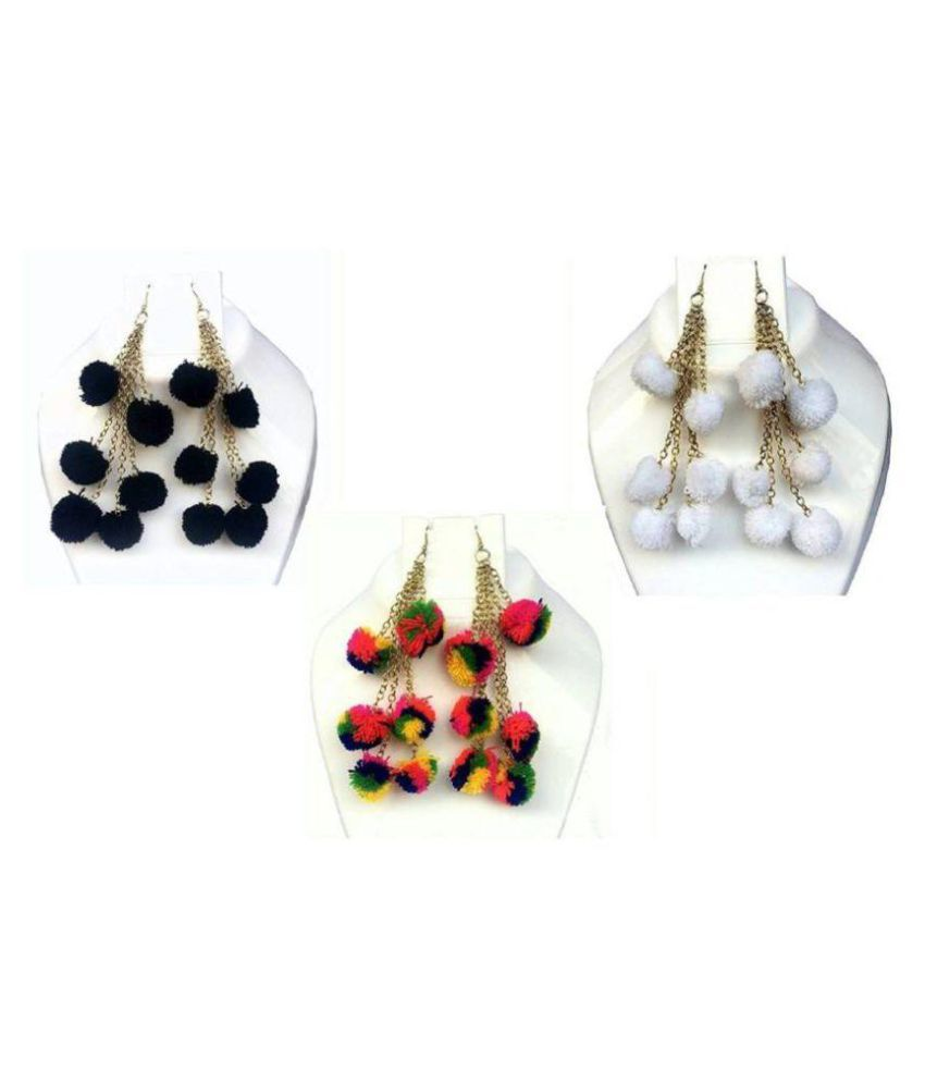 Multi Color Pompom Pack Of 3 Fabric Drop Earring Pairs, Tassel Earring, Pompom Earrings For Girls
