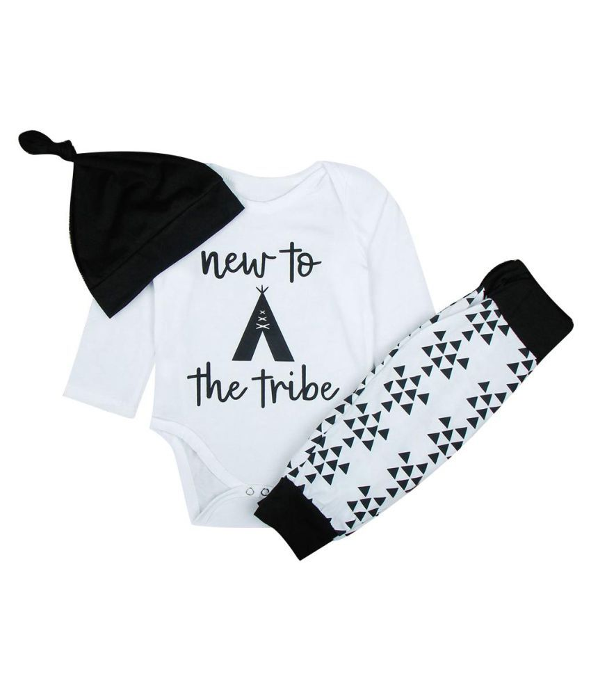 Leisure Letter Printed Long Sleeve Romper Long Pants Beanie Infant Baby Outfit