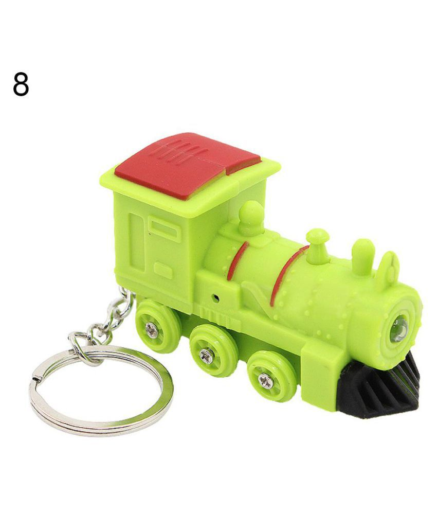 Cartoon Dinosaur Bear Train kawaii LED Light Up Keychain Key Ring with Sound