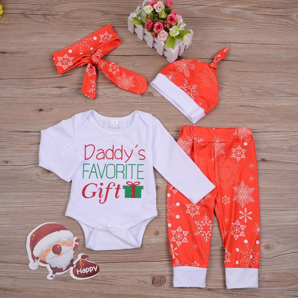 Christmas Letter Snowflake Infant Baby Long Sleeve Romper Pants Hat Headband Set