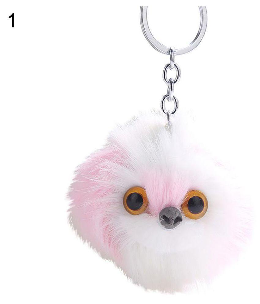 Cute Fluffy Owl Animal Pompom Ball Pendant Key Ring Keychain Car Bag Ornament