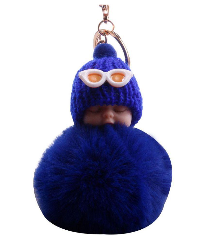 Fluffy Glasses Sleeping Baby Doll Pompom Charm Key Ring Keychain Bag Ornament