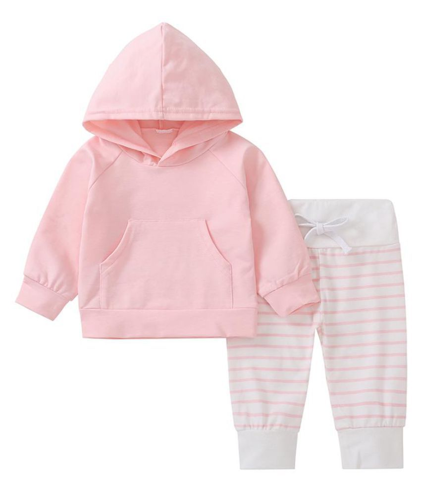 Lovely Baby Kids Girls Pink Long Sleeve Hooded Top Stripe Pants Outfits Set