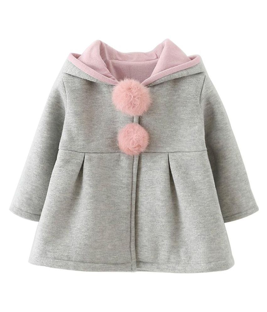 Lovely Baby Rabbit Ears Hooded Girls Spring Autumn Jacket Coat Warm Outerwear