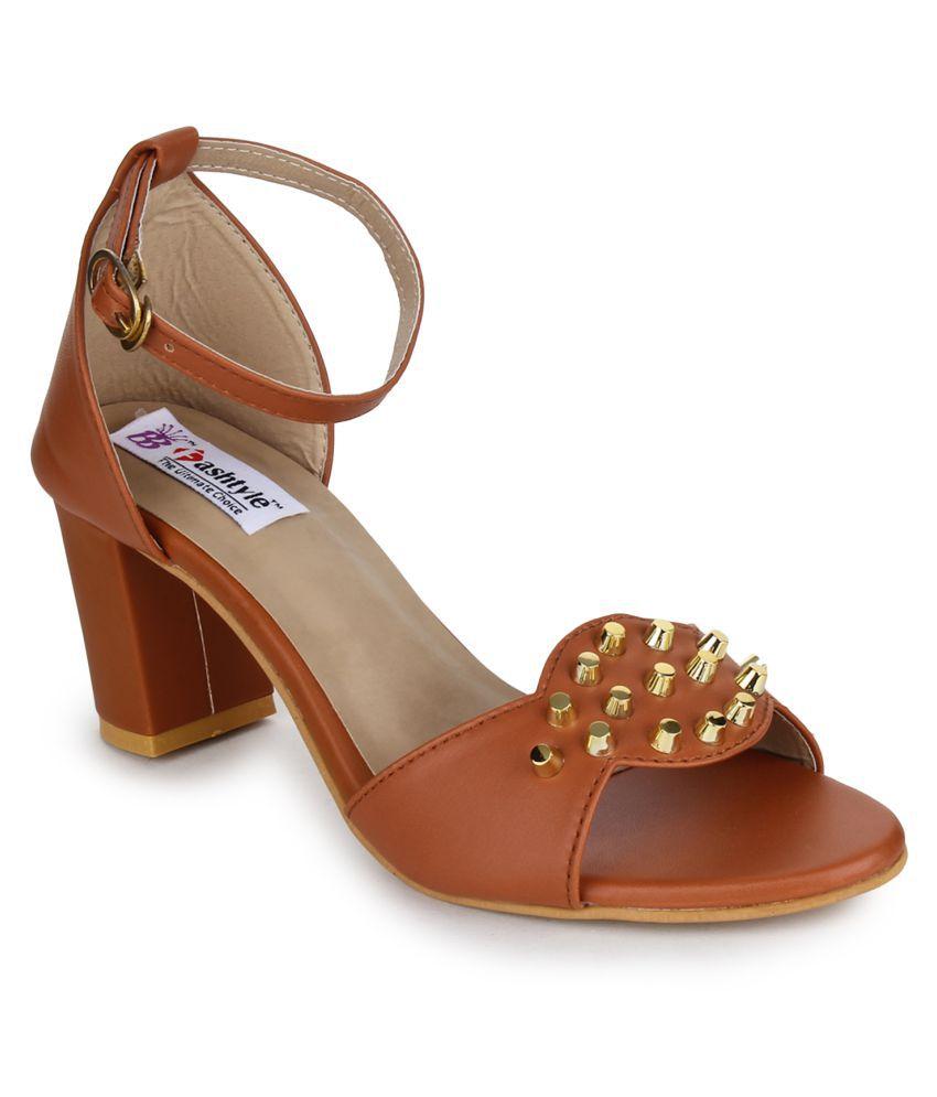 Fashtyle Tan Block Heels