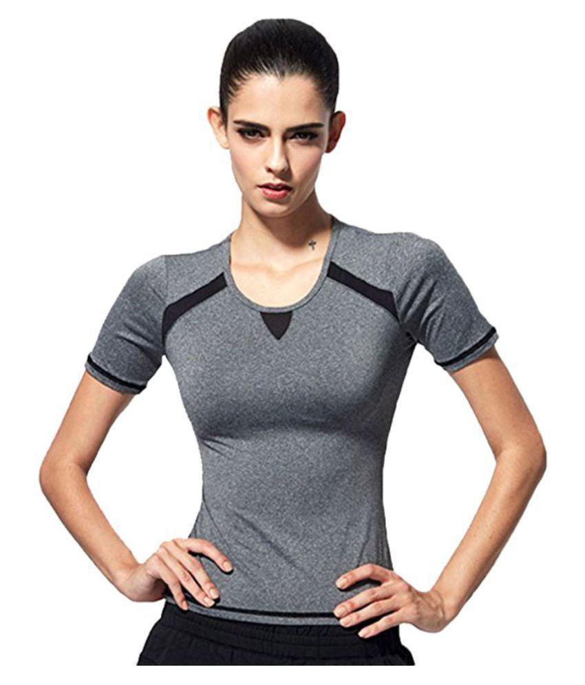 Women Black and Grey Stretchable GYM Yoga Activewear Sportwear Tshirt.premium Quality Fabric Gym Wear Women/Tight Women/Yoga Dress