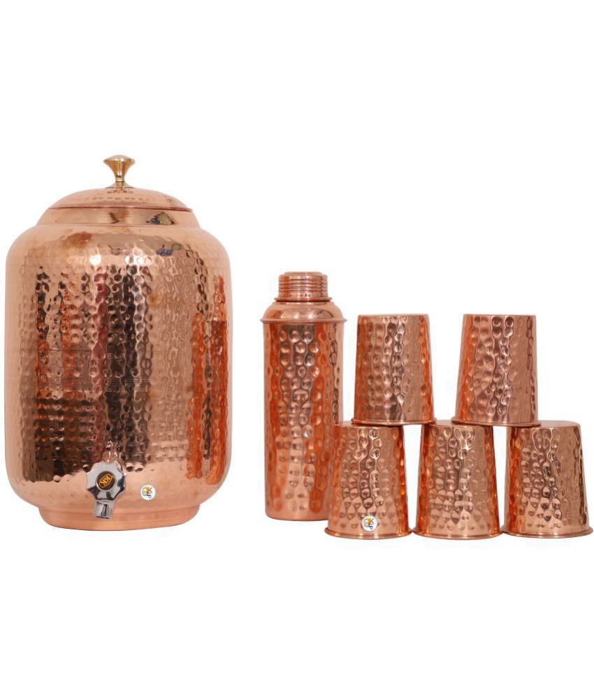 KDT One Copper Water Pot With Bottle & 5 Glasses Copper Water Container Set of 7