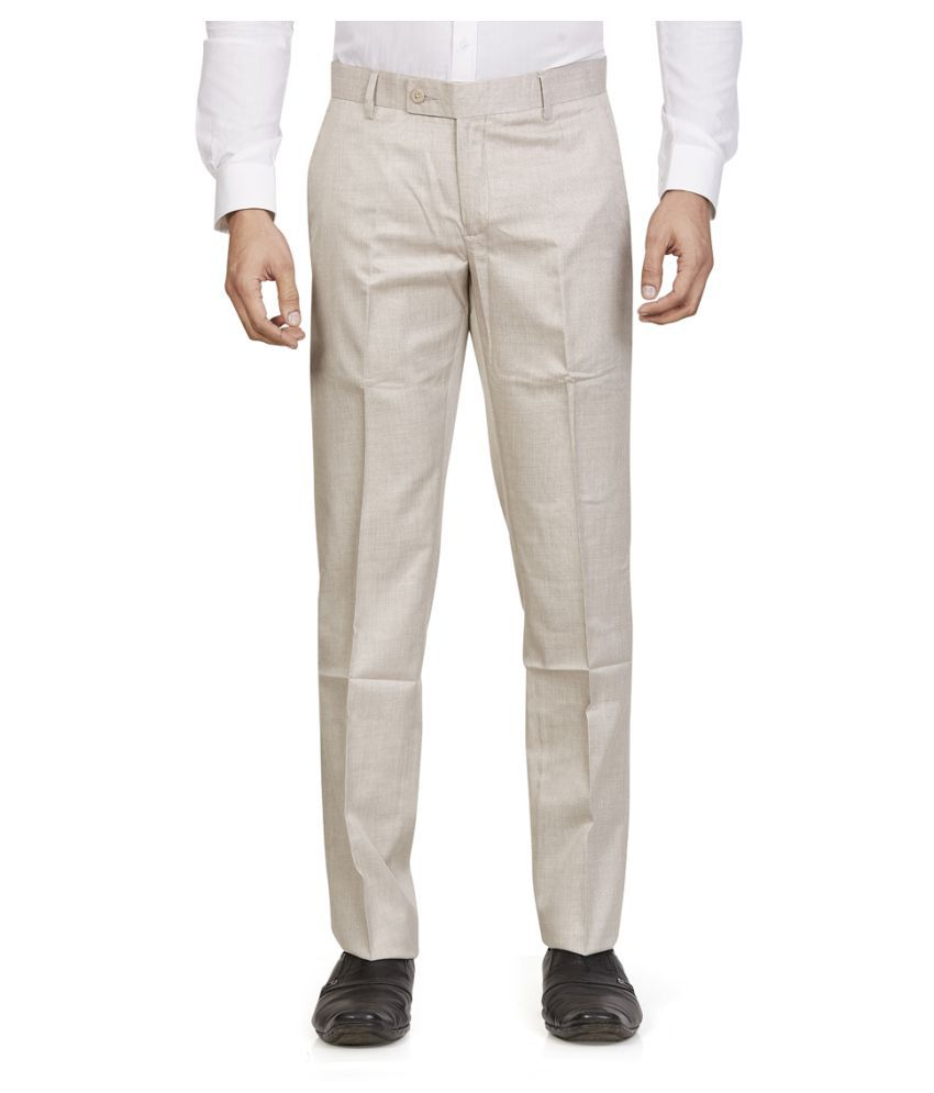 Leo Cream Tapered -Fit Flat Trousers