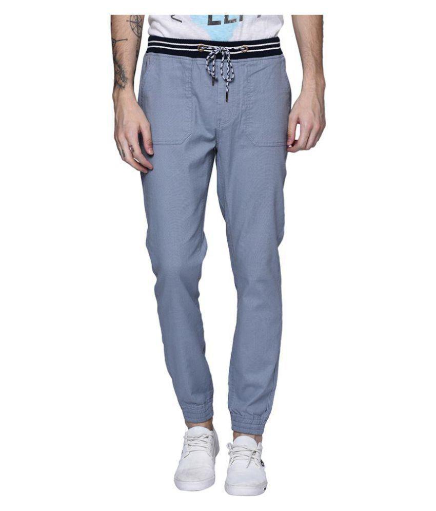 Blue Buddha Grey Slim -Fit Flat Joggers