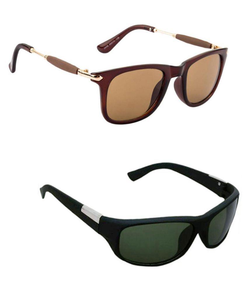 Lee Topper Brown Wayfarer Sunglasses ( NGA-37 )