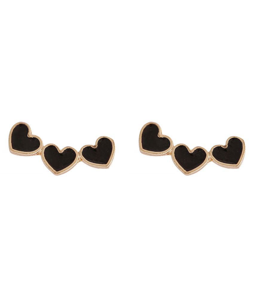 Popmode Cute 3  Love heart Black color stud earring for girls
