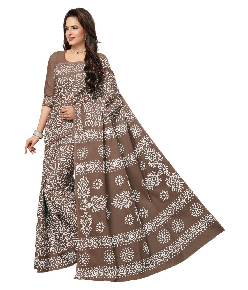Areum Brown and Grey Cotton Saree