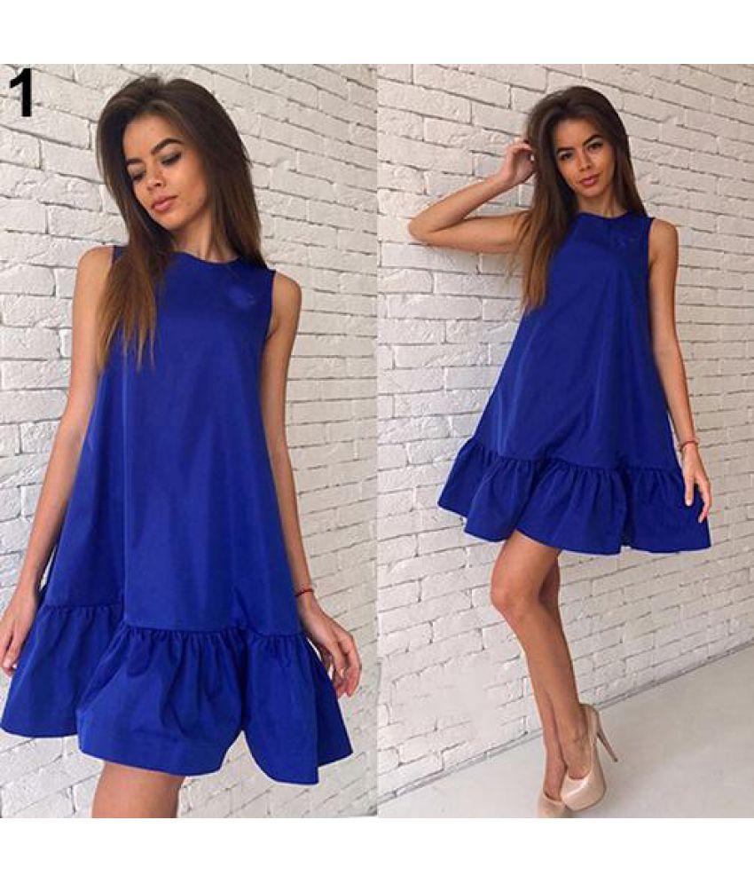 Generic Polyester Blue Asymmetric dress