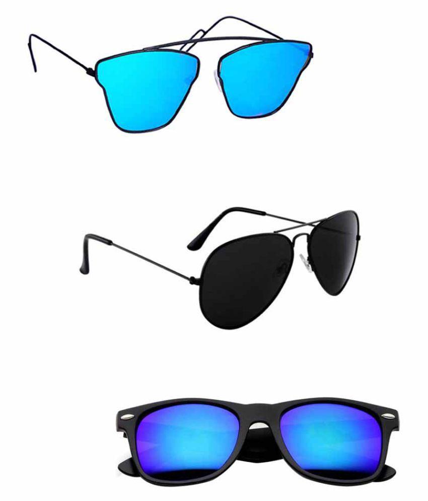 Lee Topper Blue Aviator Sunglasses ( DDS-48 )