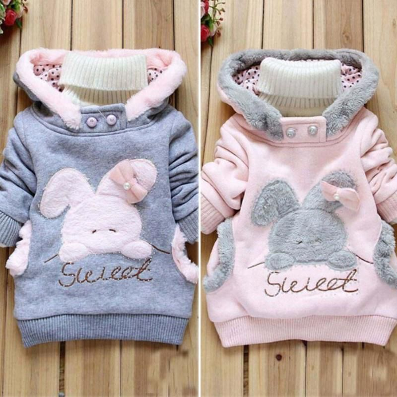Girls Bunny Fleece Sweatshirt Hoodie Pullover Outwear Coat
