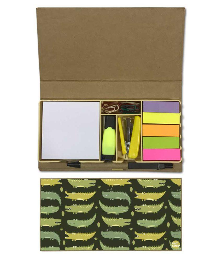 Nutcase Designer Stationary Kit Desk Organizer Memo Notepad - Crocodile