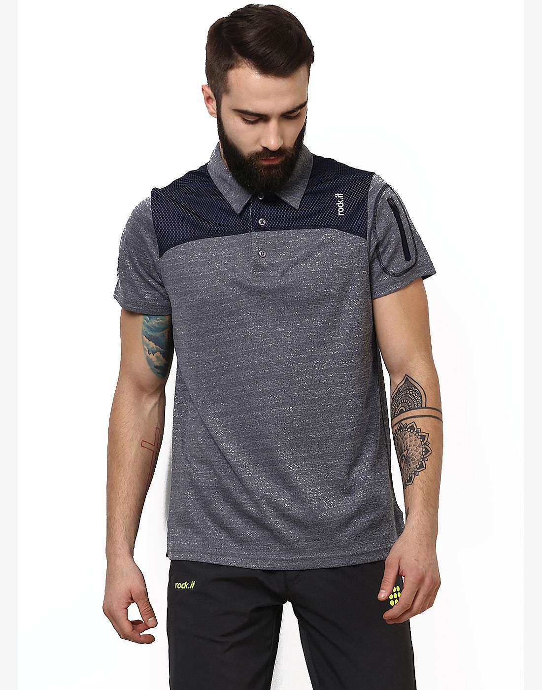 Rock.it Grey Polyester Polo T-Shirt