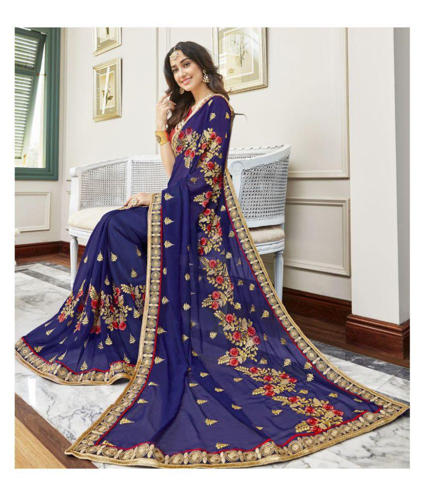 6606a0467177b2 Arohi Designer Blue and Beige Georgette Saree - Buy Arohi Designer Blue and  Beige Georgette Saree Online at Low Price - Snapdeal.com