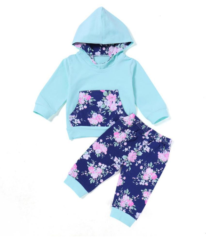 Fashion Flower Baby Kids Girls Long Sleeve Hooded Top Pants Outfit Clothes Set