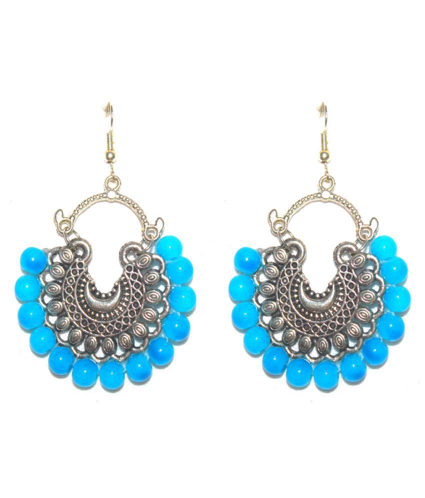 Designer Blue silver Afghani Ethnic jhumki earrings by AMMAJI FASHION